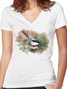 Chickadee Watercolor Art Women's Fitted V-Neck T-Shirt