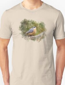 Nuthatch Watercolor Art T-Shirt