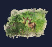 Deer Fawns Watercolor Art One Piece - Short Sleeve