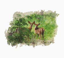 Deer Fawns Watercolor Art One Piece - Long Sleeve