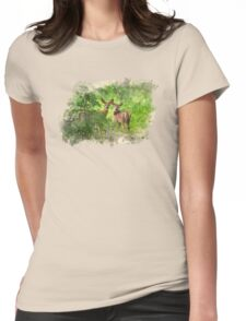 Deer Watercolor Womens Fitted T-Shirt