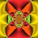 Orange and Gold Satin Folds by Charldia