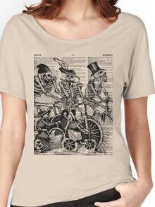Calavera Cyclists   Black and White Women's Relaxed Fit T-Shirt