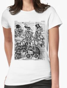 Calavera Cyclists | Black & White Womens Fitted T-Shirt