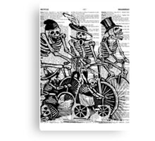 Calavera Cyclists | Black and White Canvas Print