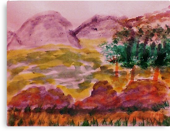 From Forest into Meadow, watercolor by Anna  Lewis, blind artist
