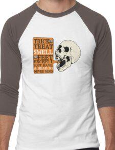 Funny skull skeleton trick or treat halloween Men's Baseball ¾ T-Shirt