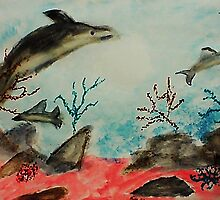 Frolicing Under the Sea,  watercolor by Anna  Lewis, blind artist