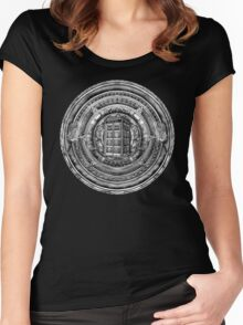 Aztec Time Lord Black and white Pencils sketch Art Women's Fitted Scoop T-Shirt