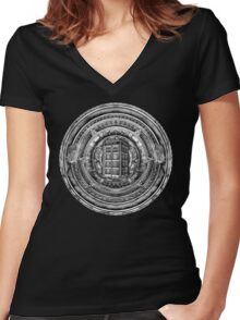 Aztec Time Lord Black and white Pencils sketch Art Women's Fitted V-Neck T-Shirt