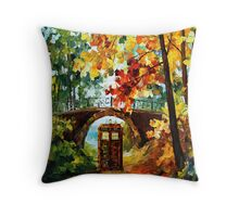Abandoned time travel phone box under the bridge painting Throw Pillow