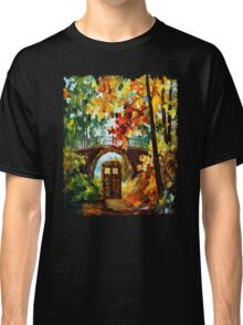 Abandoned time travel phone box under the bridge painting Classic T-Shirt