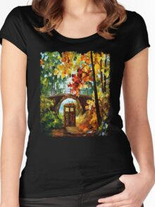 Abandoned time travel phone box under the bridge painting Women's Fitted Scoop T-Shirt