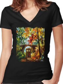 Abandoned time travel phone box under the bridge painting Women's Fitted V-Neck T-Shirt