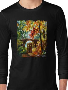 Abandoned time travel phone box under the bridge painting Long Sleeve T-Shirt