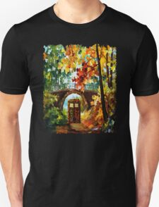 Abandoned time travel phone box under the bridge painting T-Shirt