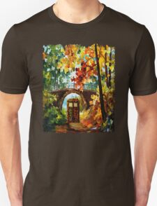 Abandoned time travel phone box under the bridge painting T-Shirt