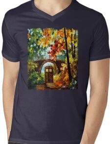 Abandoned time travel phone box under the bridge painting Mens V-Neck T-Shirt