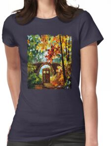 Abandoned time travel phone box under the bridge painting Womens Fitted T-Shirt