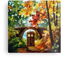 Abandoned time travel phone box under the bridge painting Metal Print