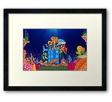 Blue Phone Booth Under the sea Framed Print