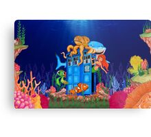 Blue Phone Booth Under the sea Metal Print