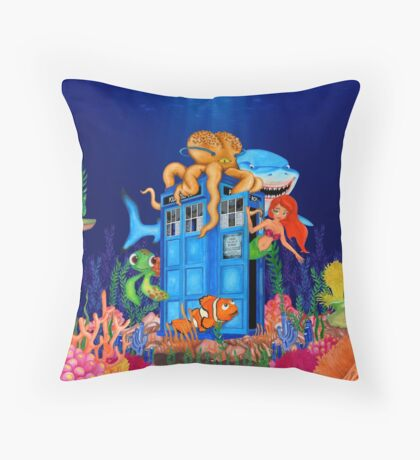 Blue Phone Booth Under the sea Throw Pillow