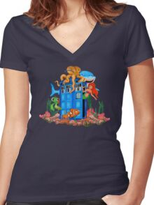 Blue Phone Booth Under the sea Women's Fitted V-Neck T-Shirt
