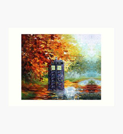 Autumn British Blue phone box painting Art Print