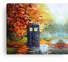 Autumn British Blue phone box painting Metal Print