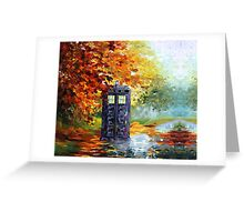Autumn British Blue phone box painting Greeting Card