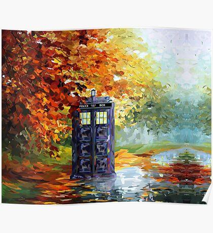Autumn British Blue phone box painting Poster