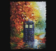 Autumn British Blue phone box painting Kids Tee