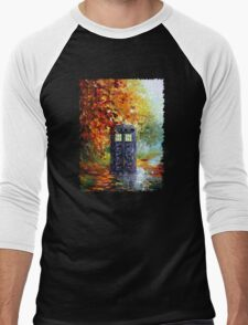Autumn British Blue phone box painting Men's Baseball ¾ T-Shirt