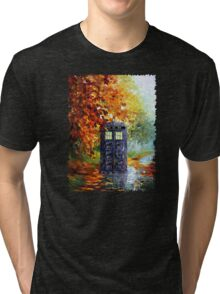Autumn British Blue phone box painting Tri-blend T-Shirt