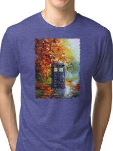 Autumn British Blue phone box painting Tri-blend T-Shirt