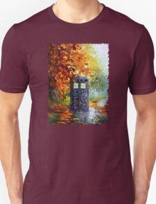 Autumn British Blue phone box painting Unisex T-Shirt
