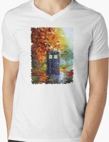 Autumn British Blue phone box painting Mens V-Neck T-Shirt