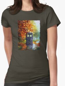 Autumn British Blue phone box painting T-Shirt