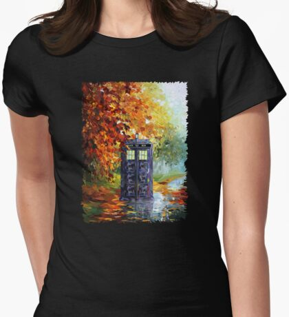 Autumn British Blue phone box painting Womens Fitted T-Shirt
