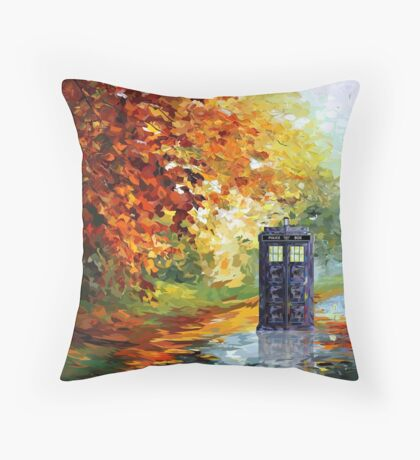Autumn British Blue phone box painting Throw Pillow