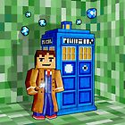 8bit blue phone box with space and time traveller by Arief Rahman Hakeem