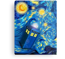 Space and time traveller phone box Starry the night Cartoons Metal Print