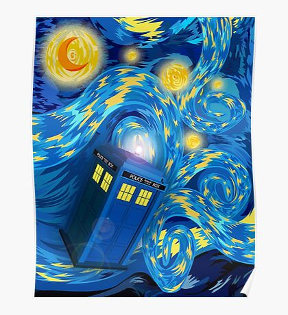 Space and time traveller phone box Starry the night Cartoons Poster