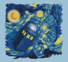 Space and time traveller phone box Starry the night Cartoons Baby Tee