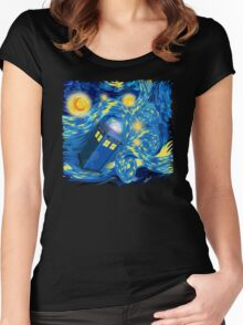 Space and time traveller phone box Starry the night Cartoons Women's Fitted Scoop T-Shirt