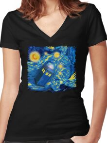 Space and time traveller phone box Starry the night Cartoons Women's Fitted V-Neck T-Shirt