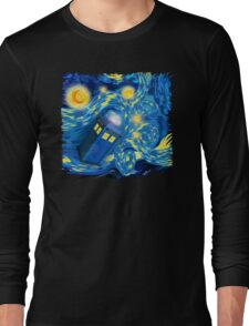 Space and time traveller phone box Starry the night Cartoons Long Sleeve T-Shirt
