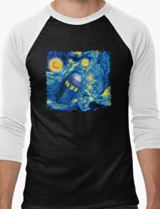 Space and time traveller phone box Starry the night Cartoons Men's Baseball ¾ T-Shirt