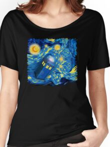 Space and time traveller phone box Starry the night Cartoons Women's Relaxed Fit T-Shirt